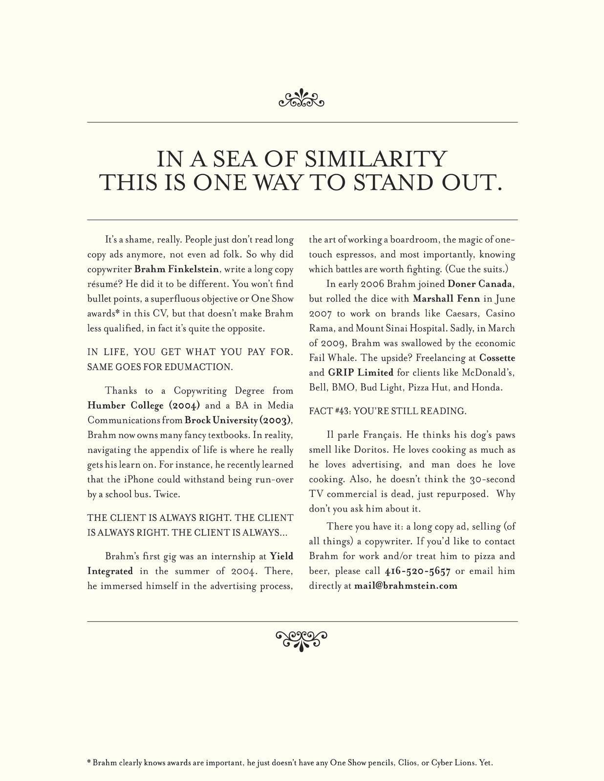 print advert by brahmstein resume ads of the world