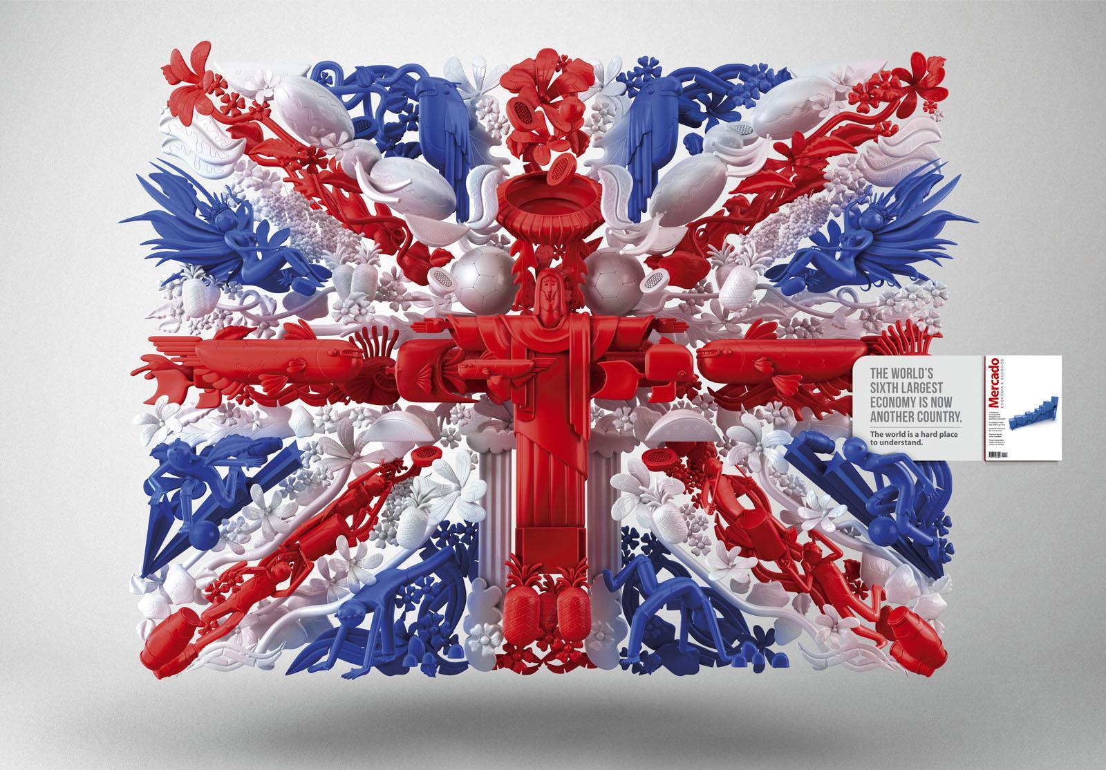 Mercado Magazine Print Ad -  UK-Brazil Flag