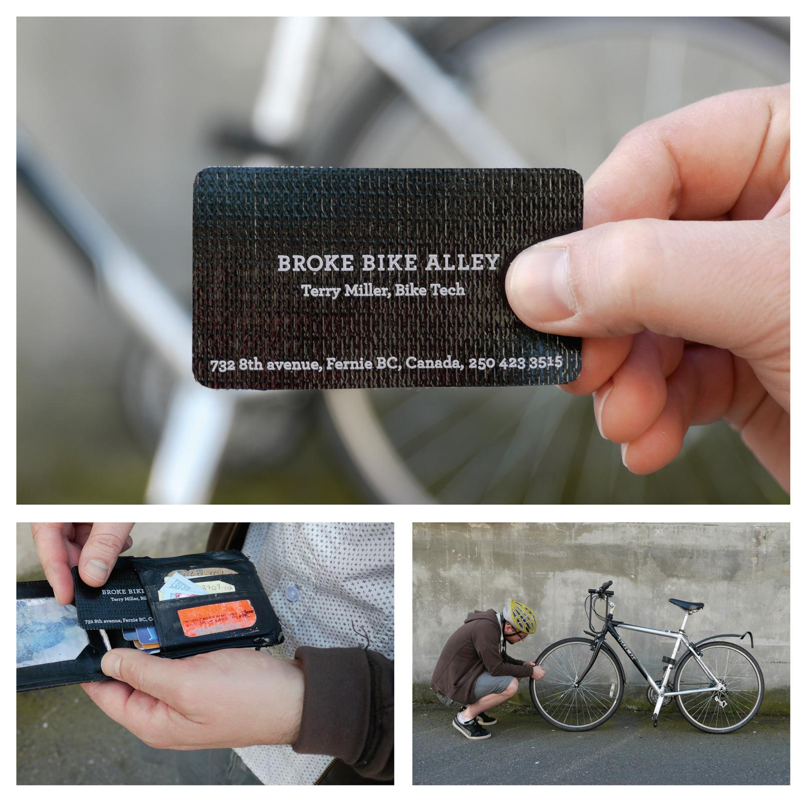 Broke Bike Alley Direct Ad -  Tire patch business card