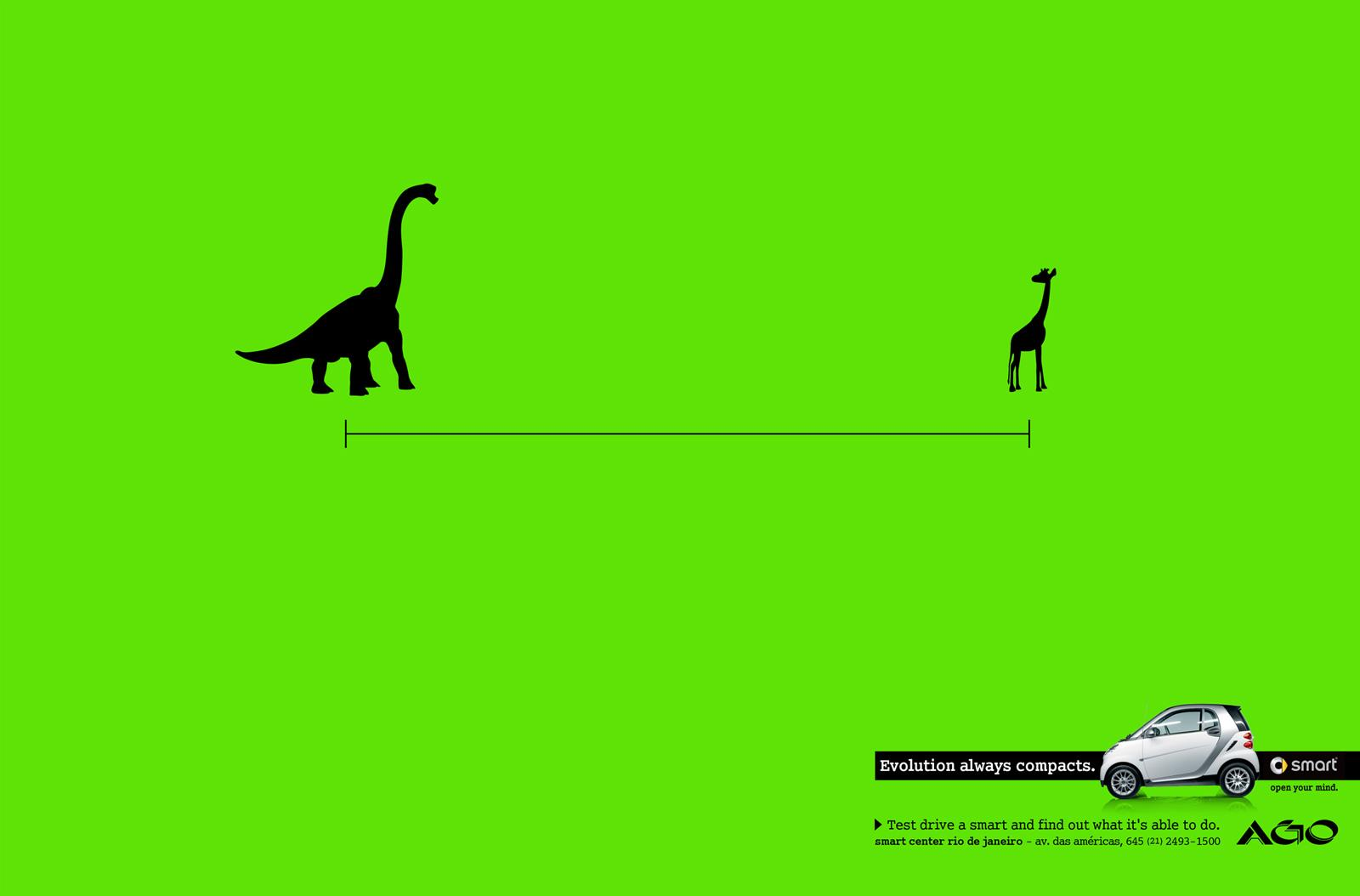 Smart Print Ad -  Evolution always compacts, Brontosaurus