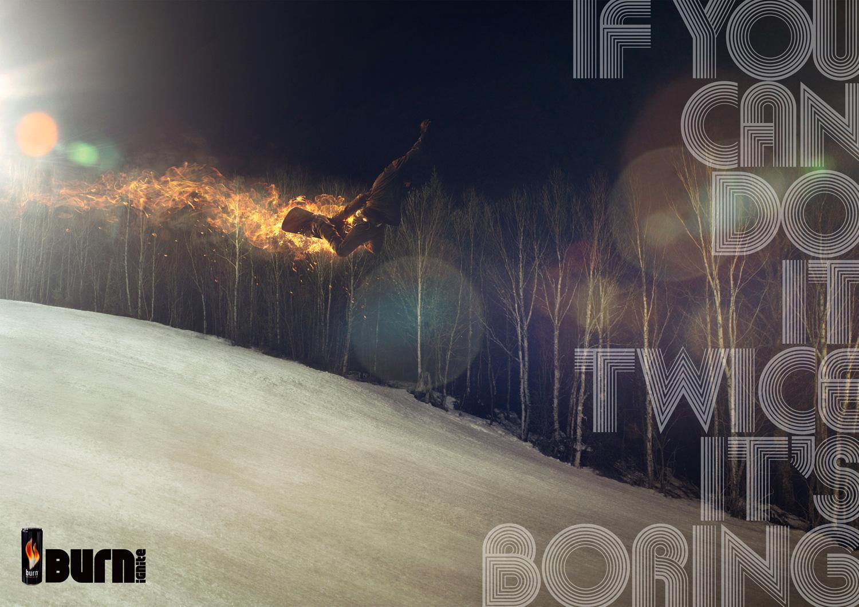 Burn Print Ad -  Snowboarder