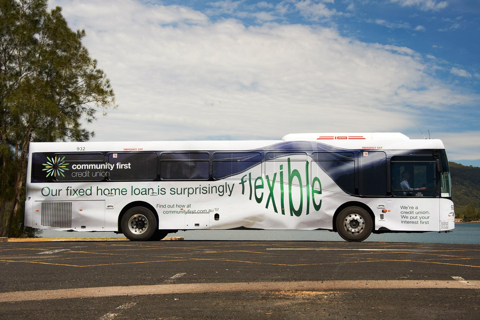 Community First Credit Union Outdoor Ad -  Flexible Bus