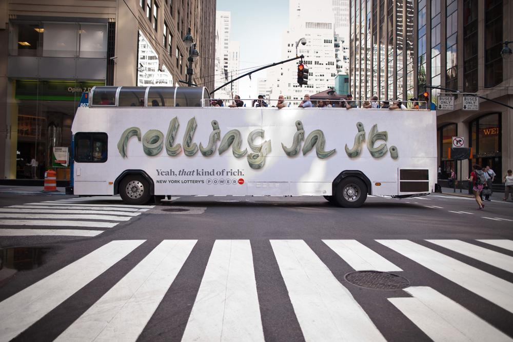 New York Lottery Outdoor Ad -  Rolling in it