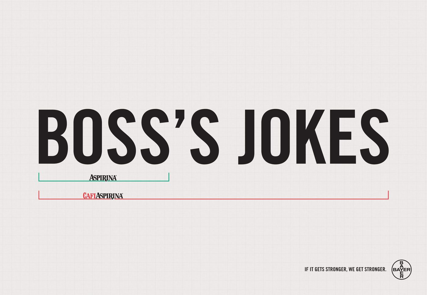 Aspirin Print Ad -  Boss's jokes