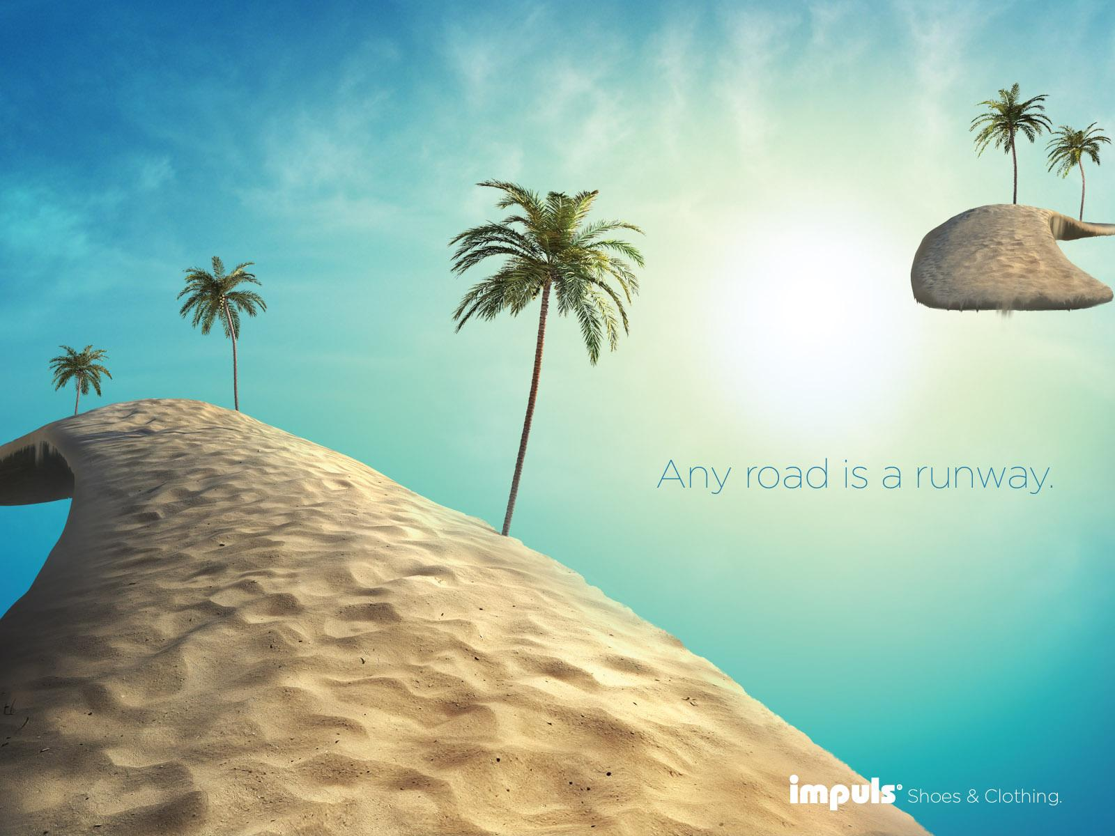 Impuls Print Ad -  Any Road is a Runway, Beach