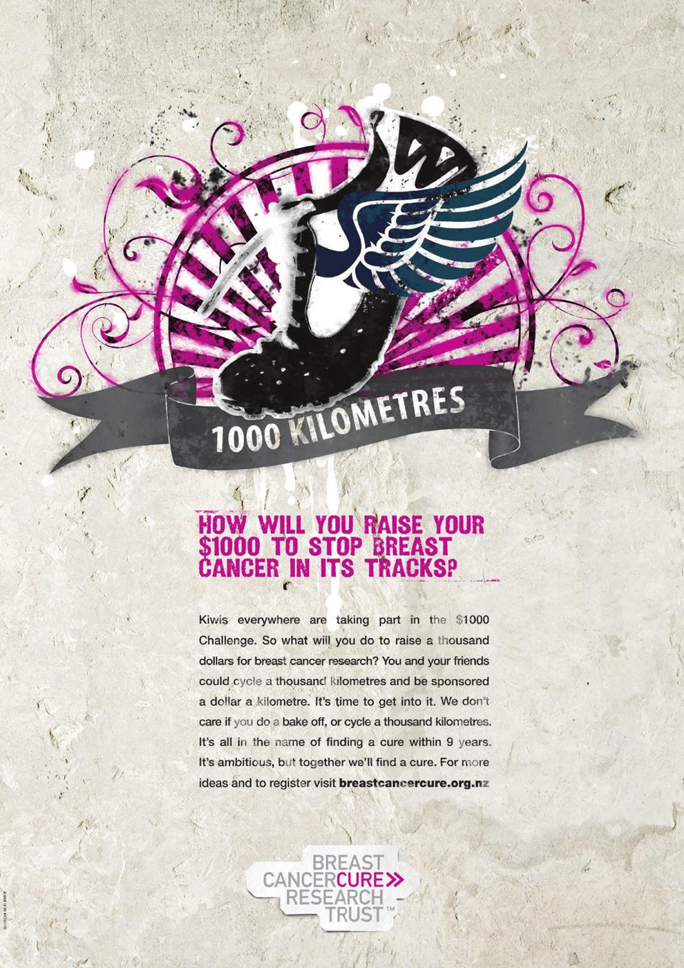 The Breast Cancer Cure Research Trust Print Ad -  Cure running