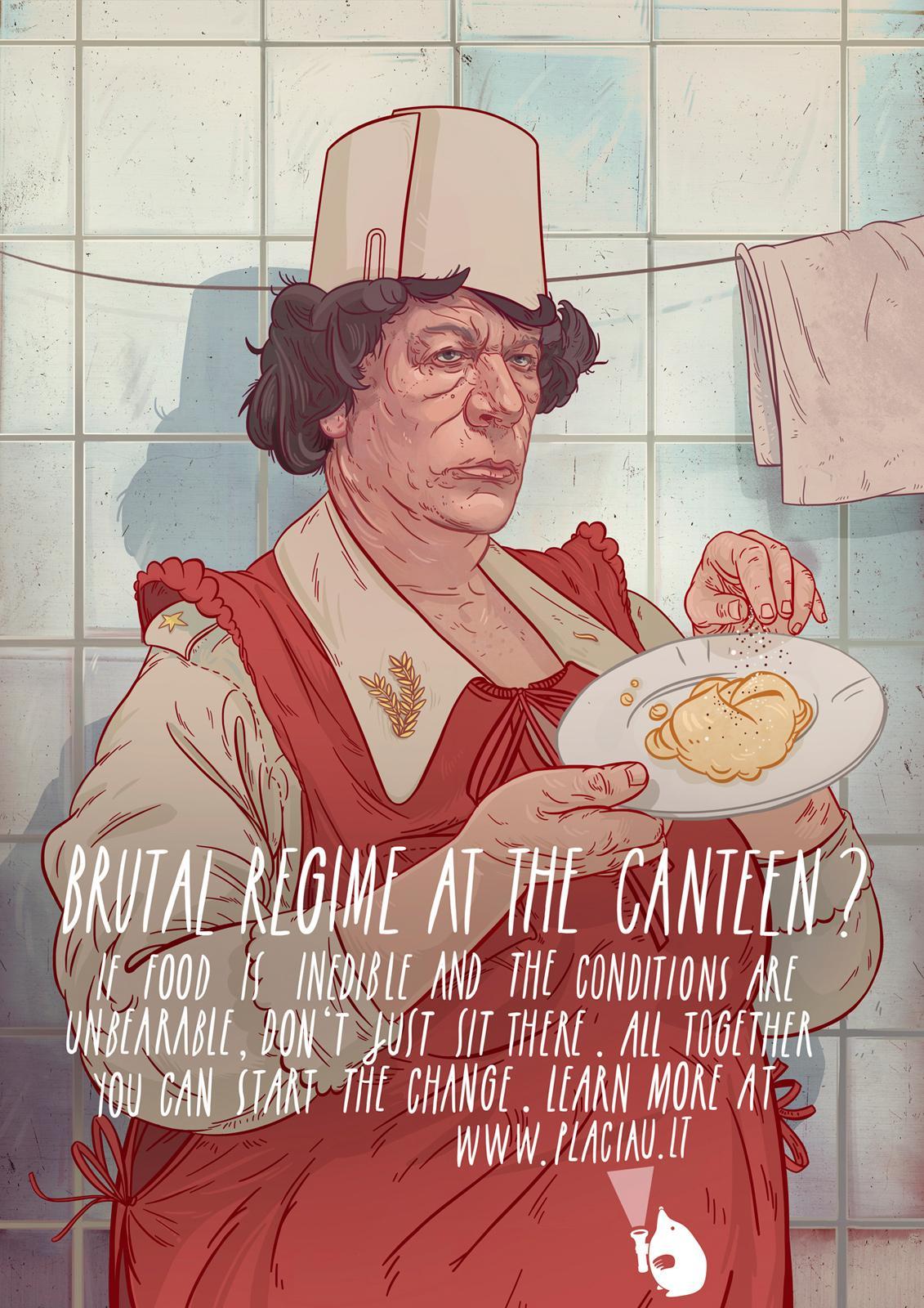 Europos namai Print Ad -  Muammar at the Canteen