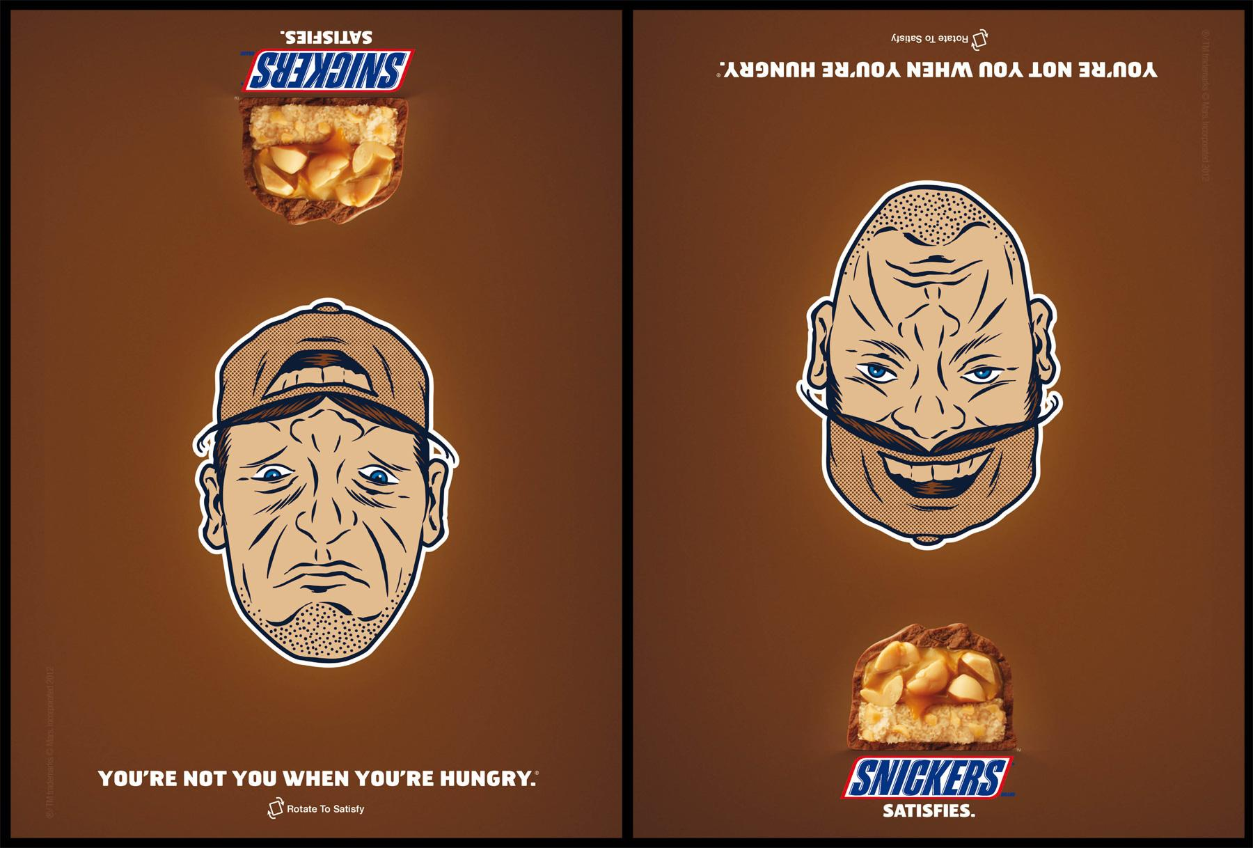 Snickers Print Ad -  Baseball Cap Face
