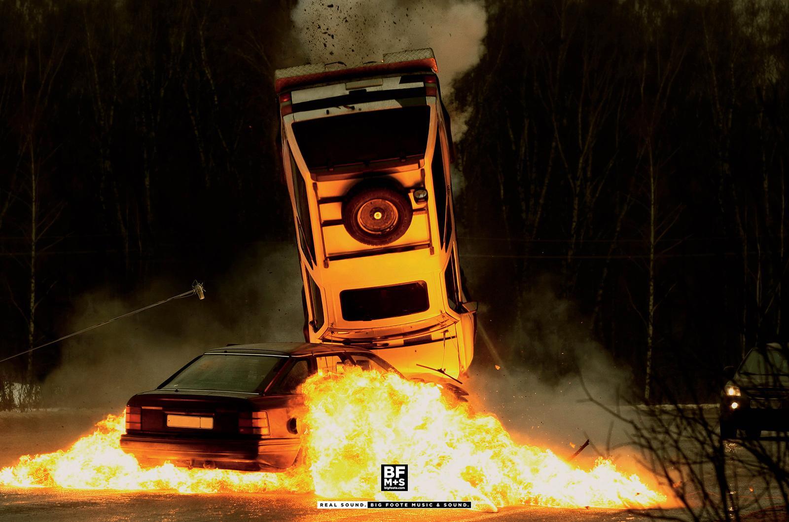 Big Foote Music & Sound Print Ad -  Car explosion