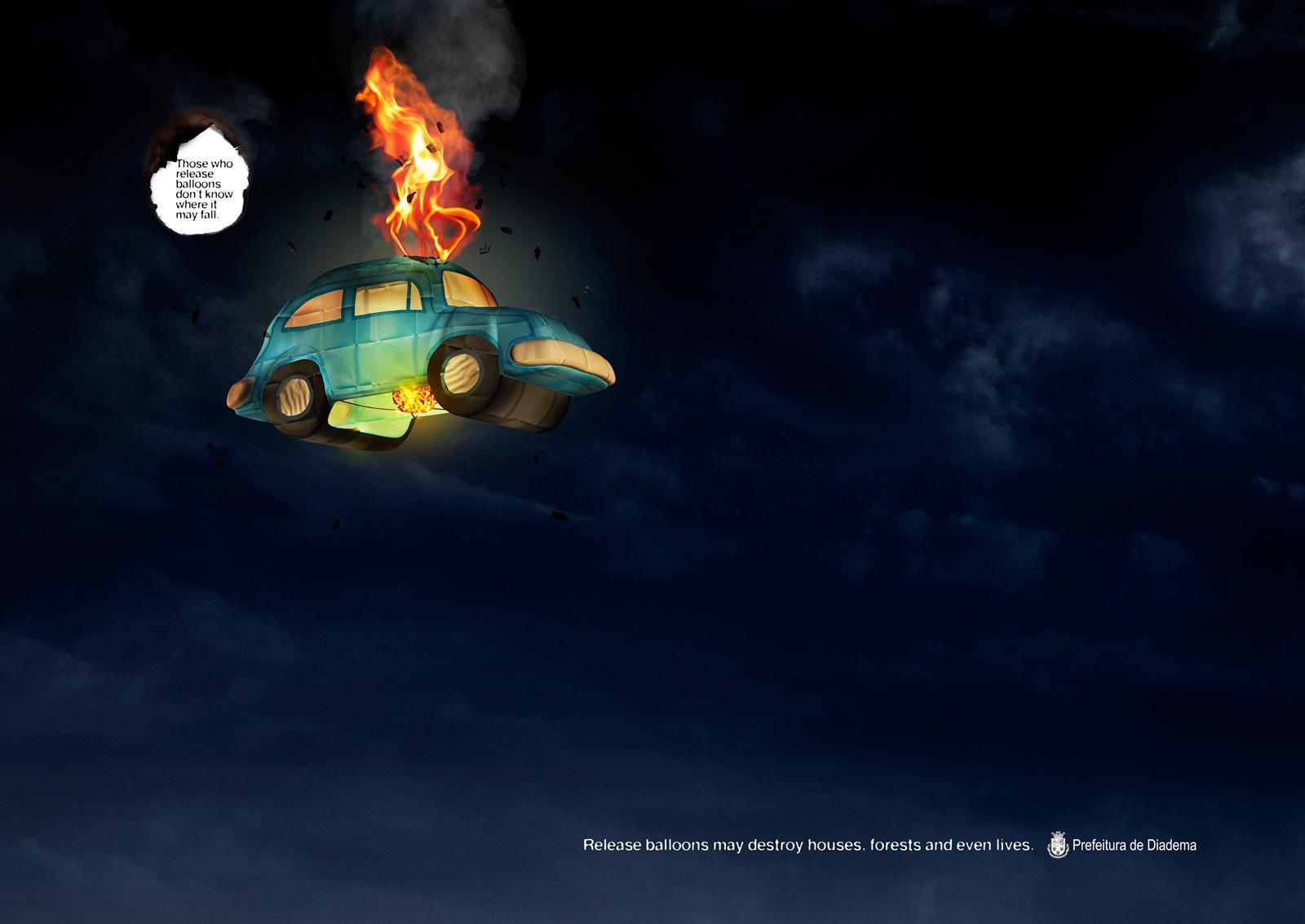 Diadema City Print Ad -  Balloons, Car
