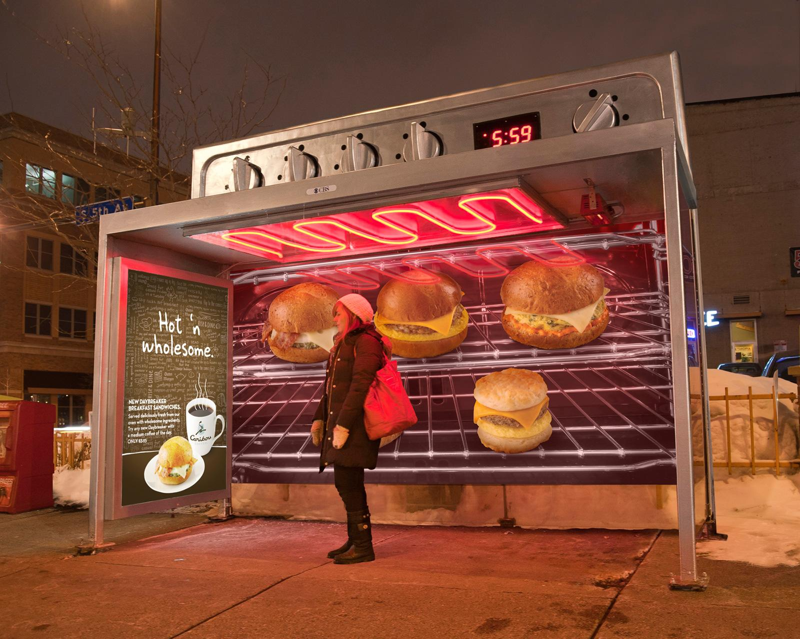 Caribou Coffee Outdoor Ad -  Ovens out of transit shelters