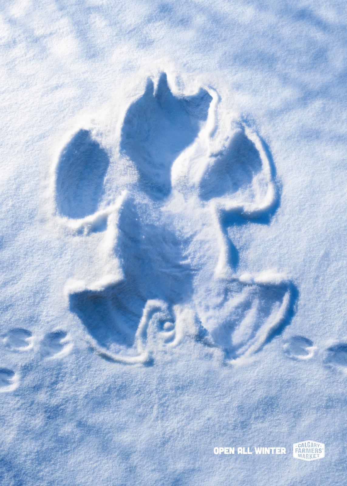 Calgary Farmers' Market Print Ad -  Snow Angels, Pig