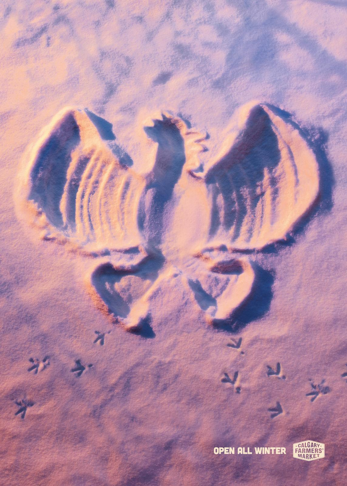 Calgary Farmers' Market Print Ad -  Snow Angels, Rooster