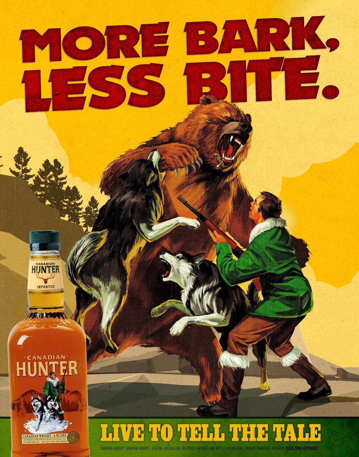 Canadian Hunter Whiskey Outdoor Ad -  X Man's Life, Bore