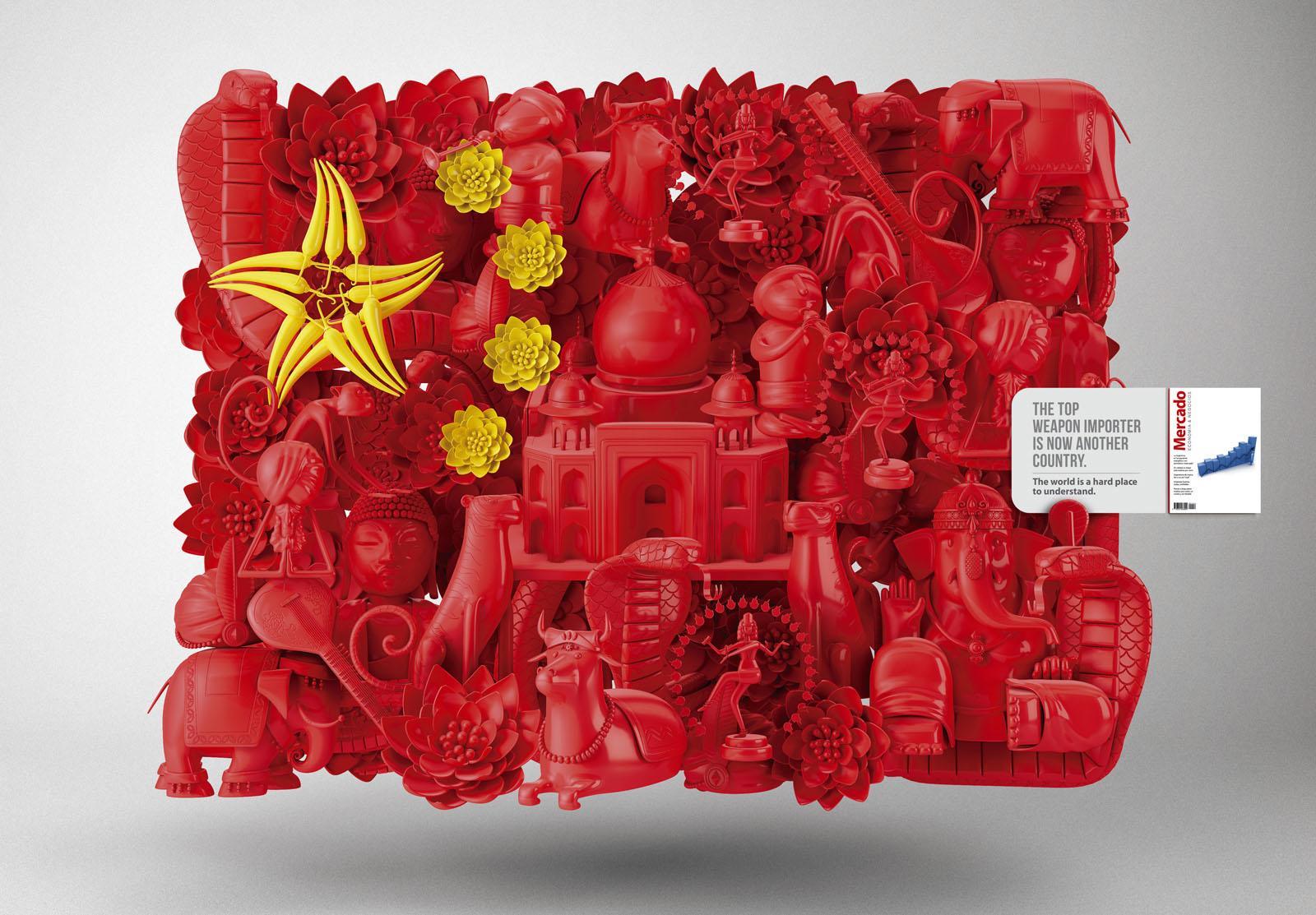 Mercado Magazine Print Ad -  China-India Flag