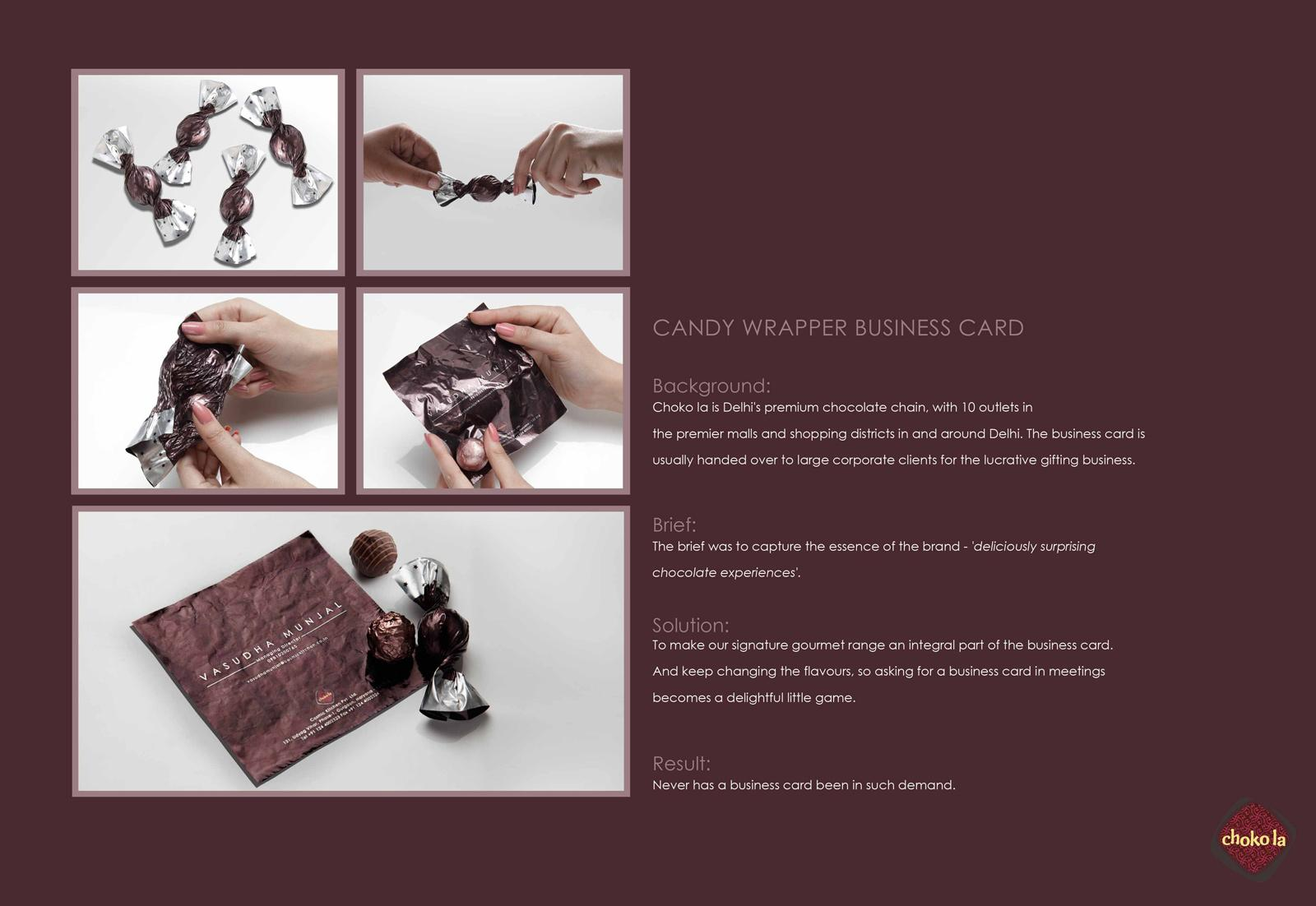 Choko la Direct Ad -  Candy wrapper business card
