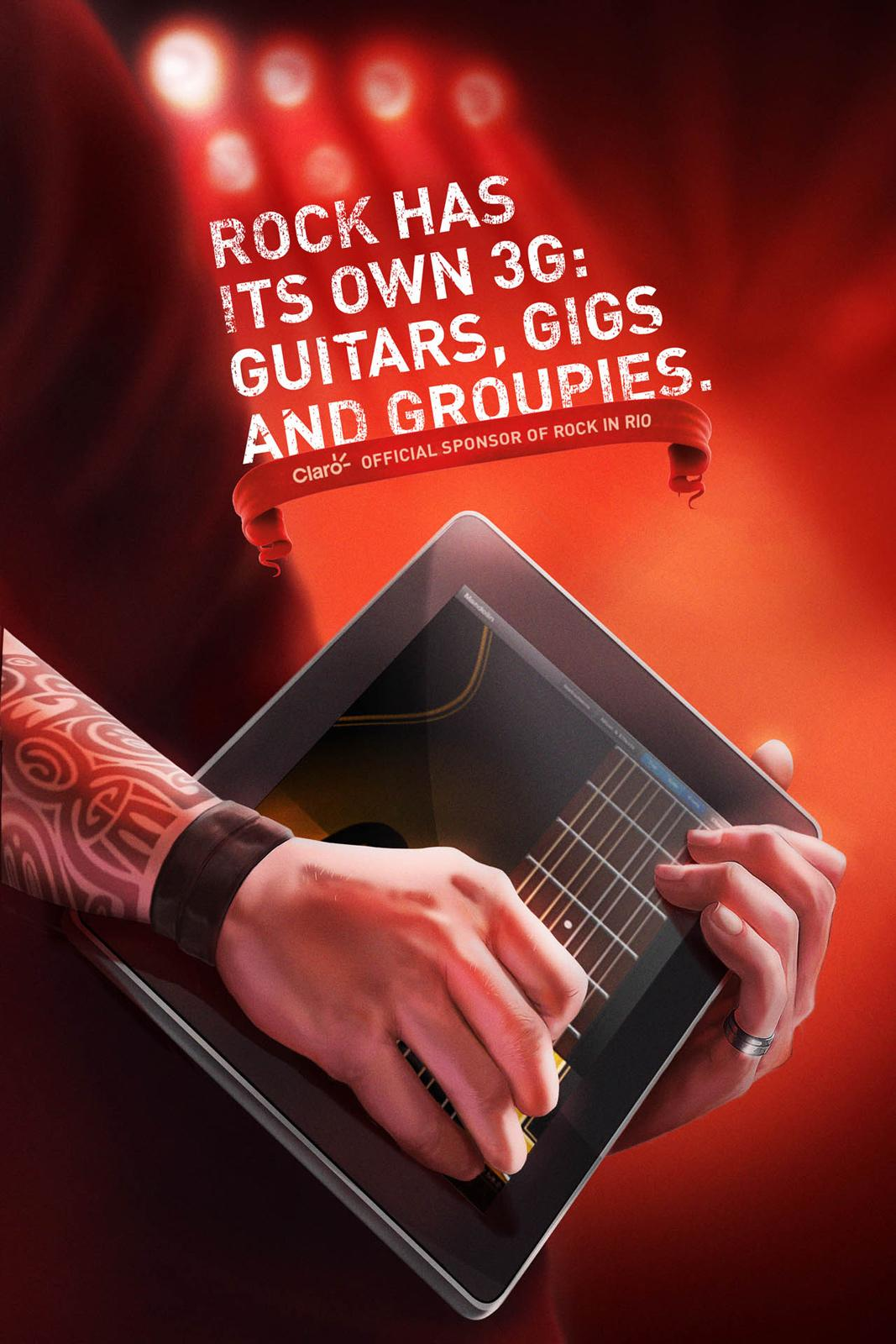 Claro Print Ad -  Rock in Rio, Guitar
