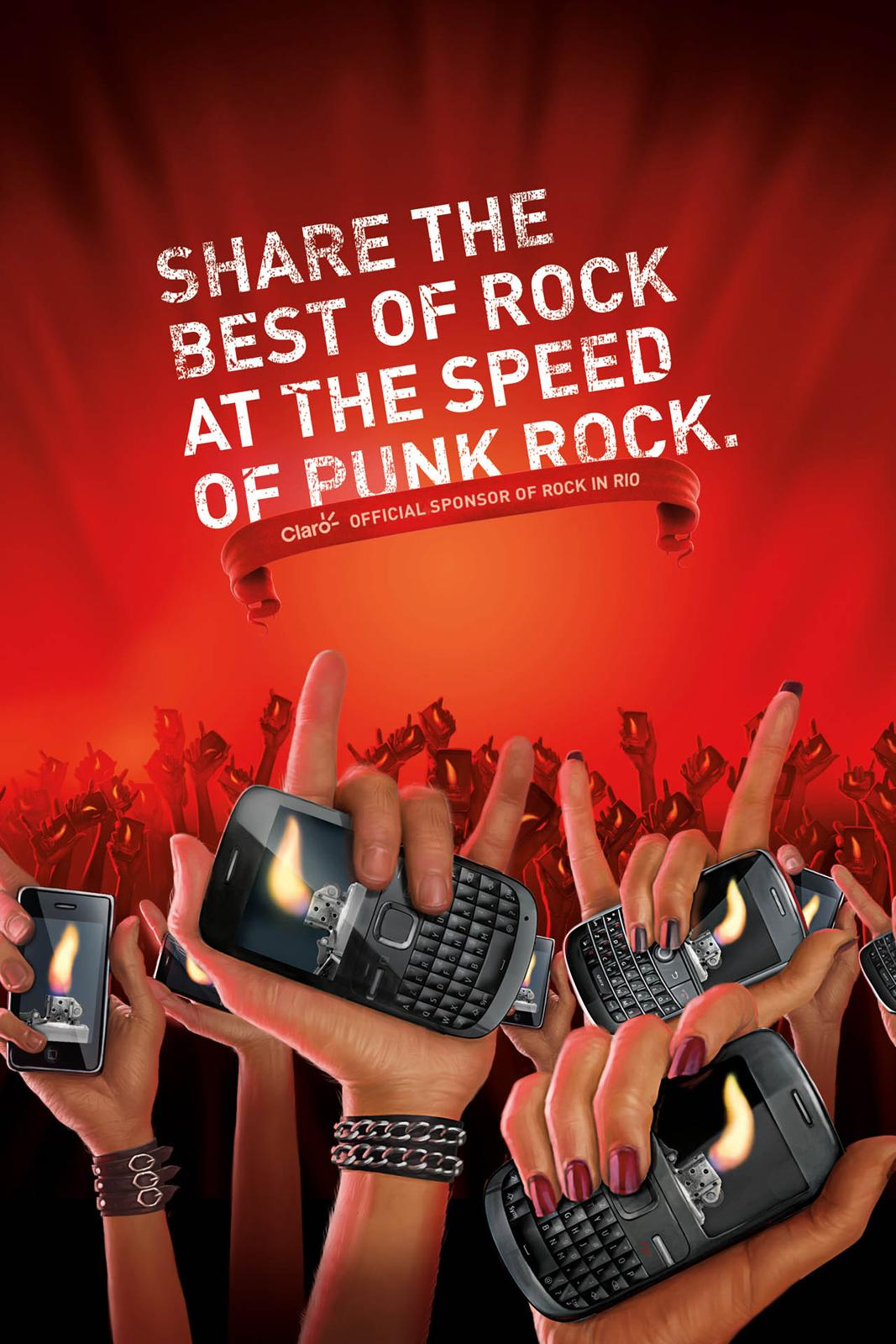 Claro Print Ad -  Rock in Rio, Hands
