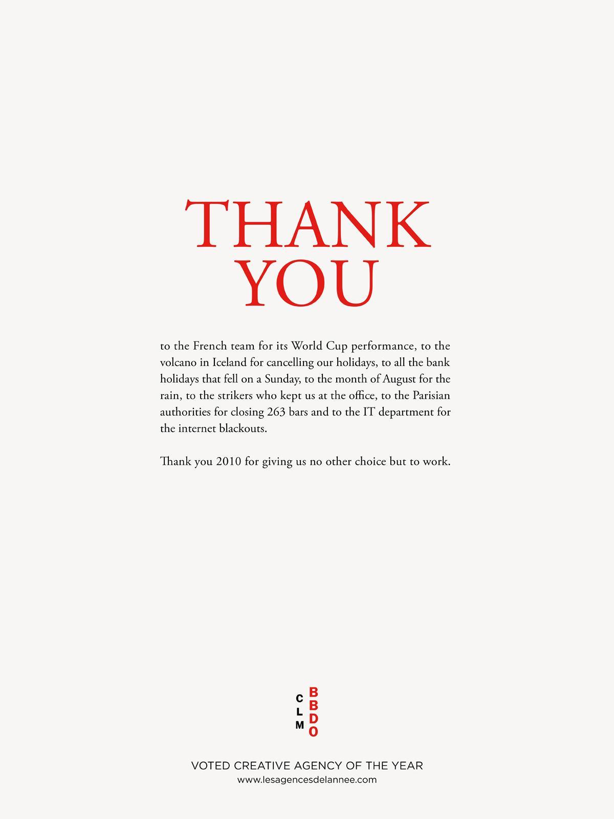 BBDO Print Ad -  Thank you