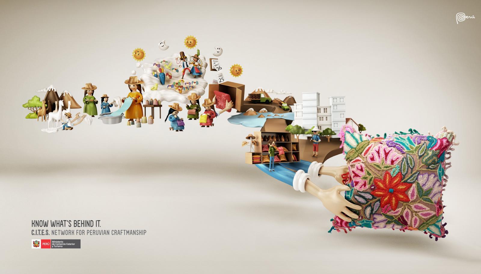 Peruvian Government Print Ad -  Cushion
