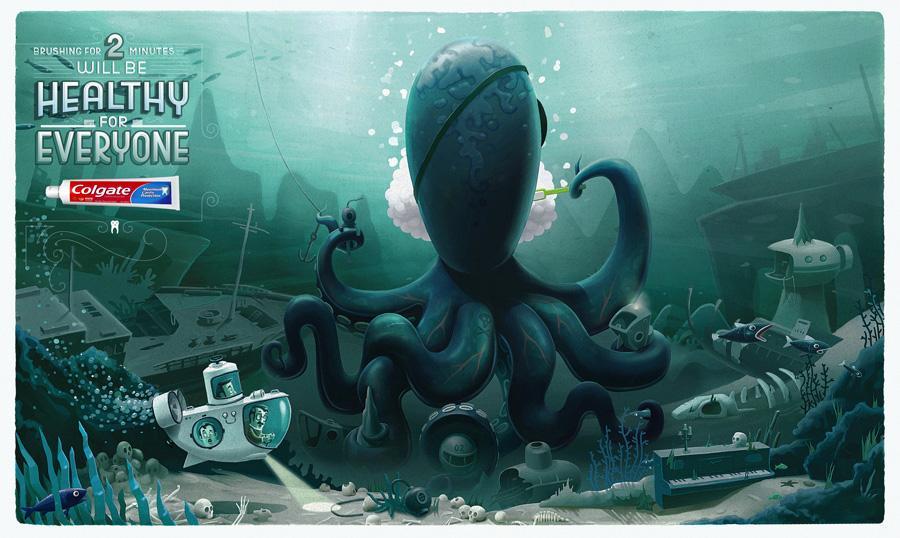 Colgate Print Ad -  Octopus