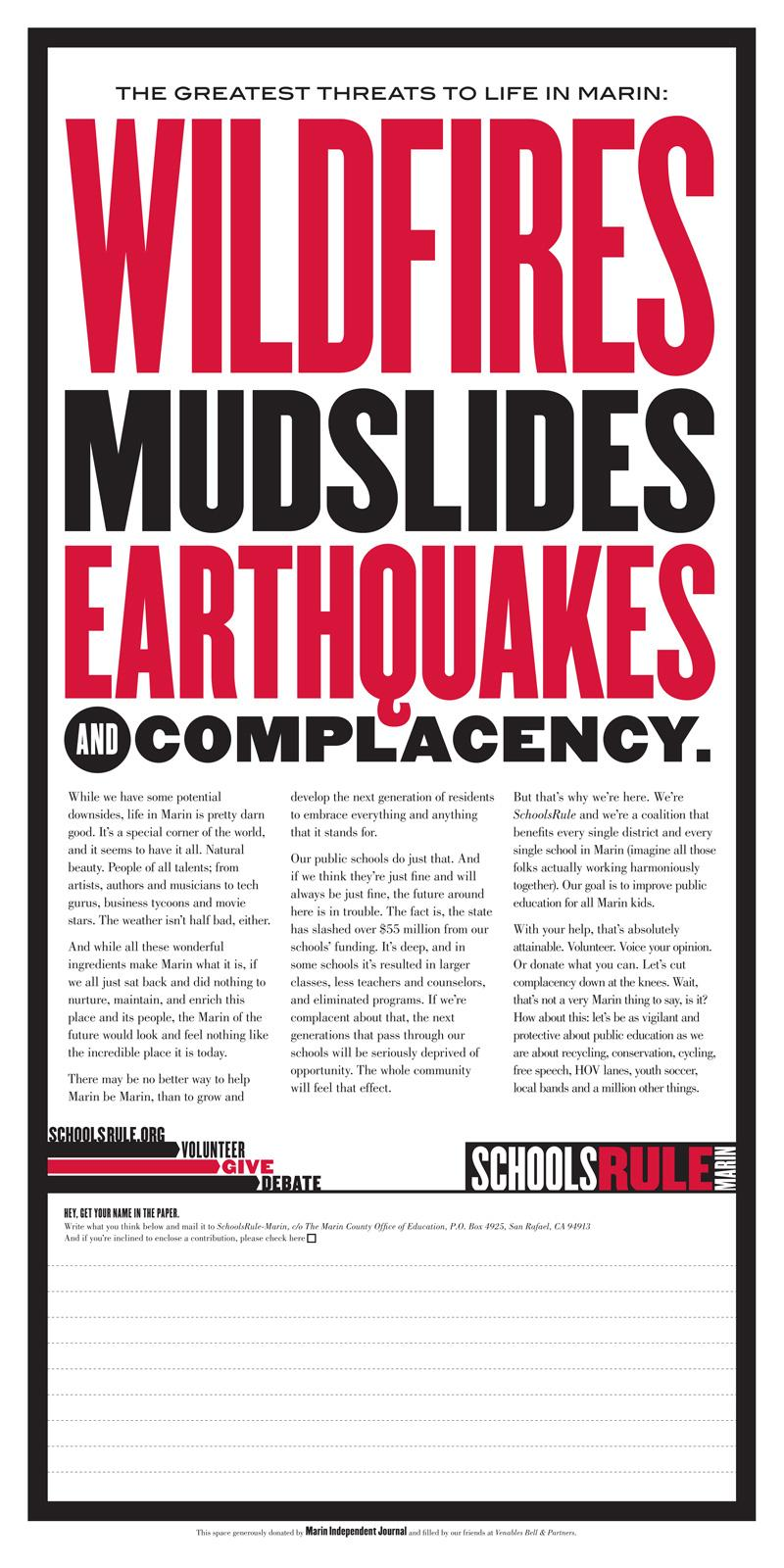 Marin County Public Schools Print Ad -  Complacency