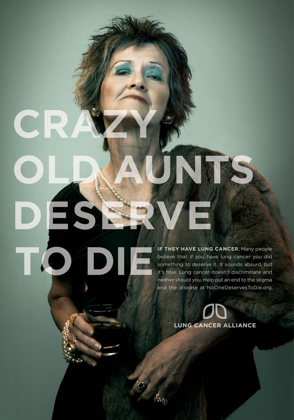Lung Cancer Alliance Print Ad -  Crazy Old Aunts