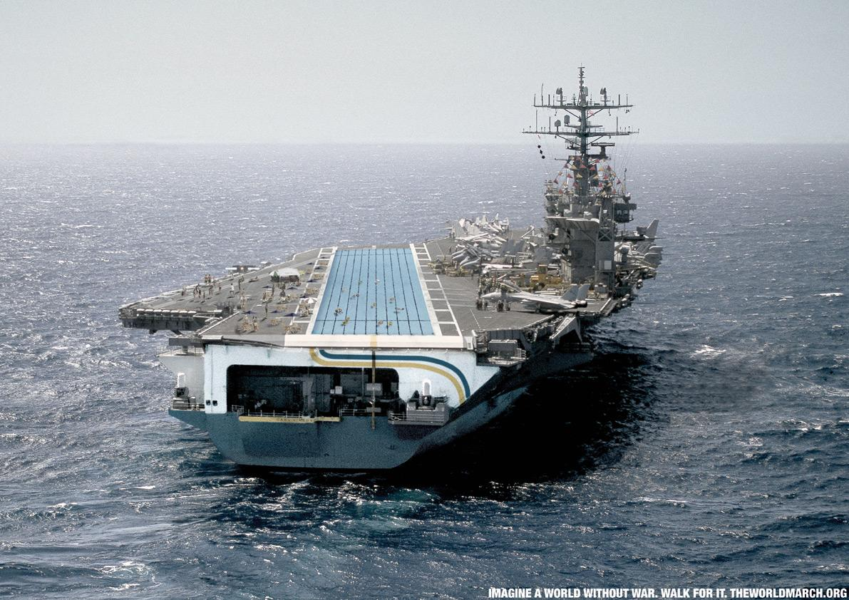 The World March for Peace Print Ad -  Aircraft carrier