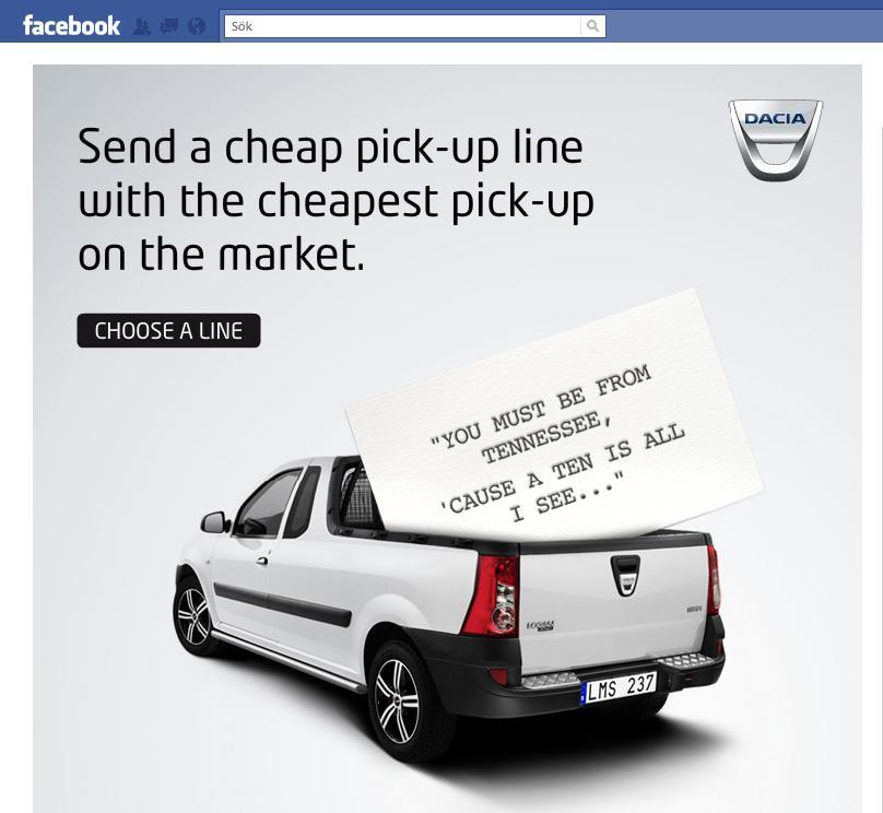 Dacia Digital Ad -  Cheap Pick-up Lines