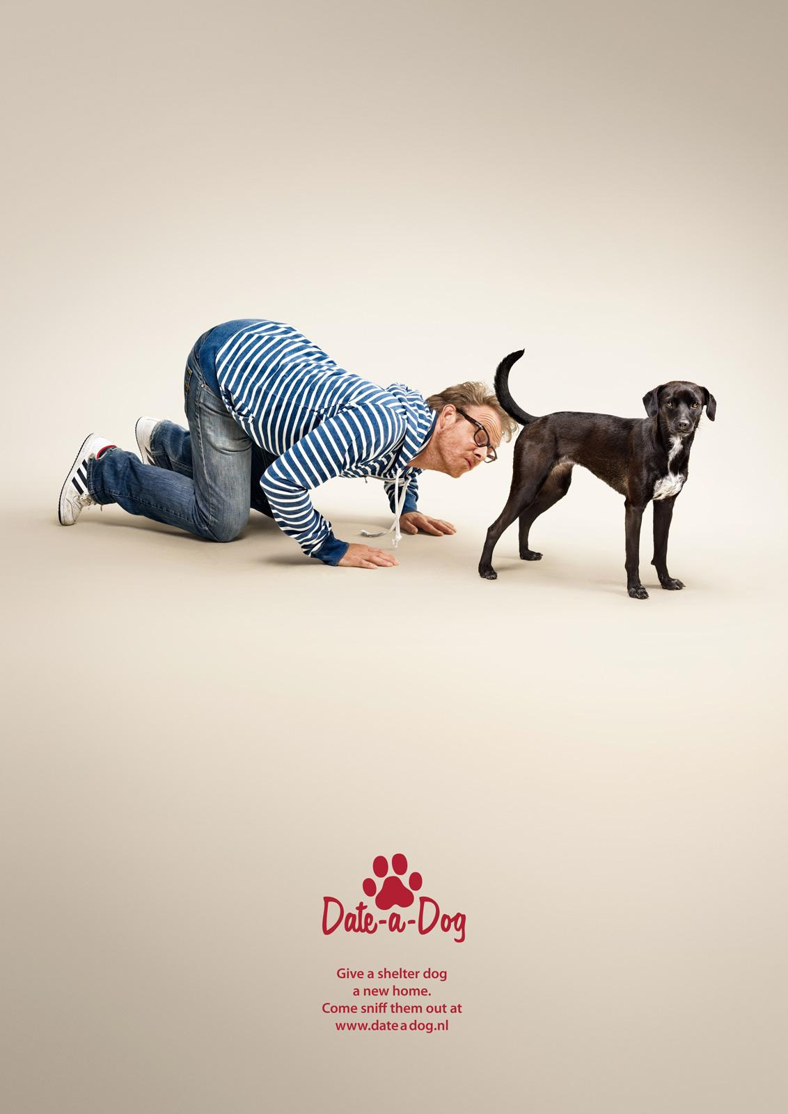 Date a Dog Print Ad -  Young Man