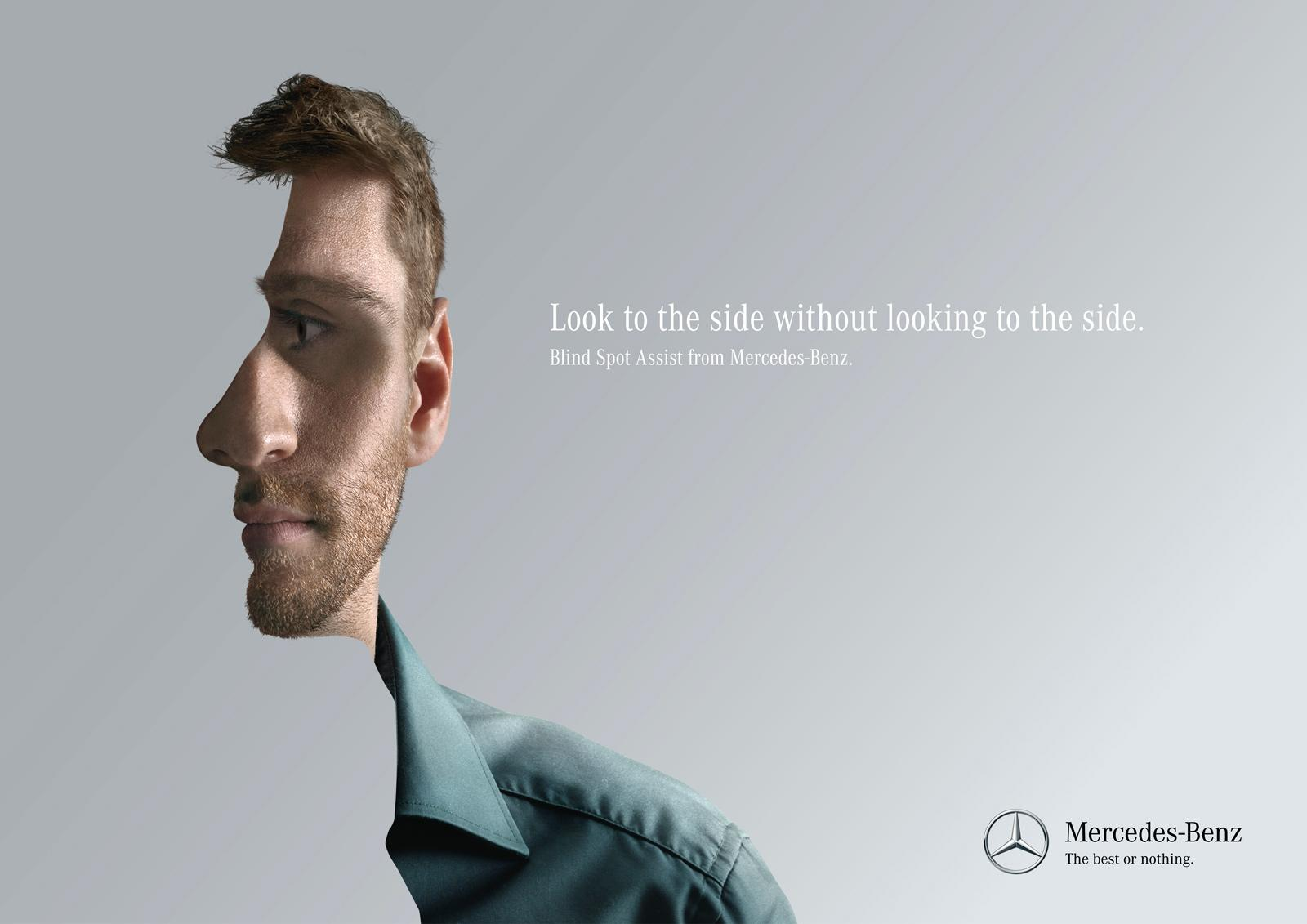 Mercedes Print Ad -  Look to the side, 3