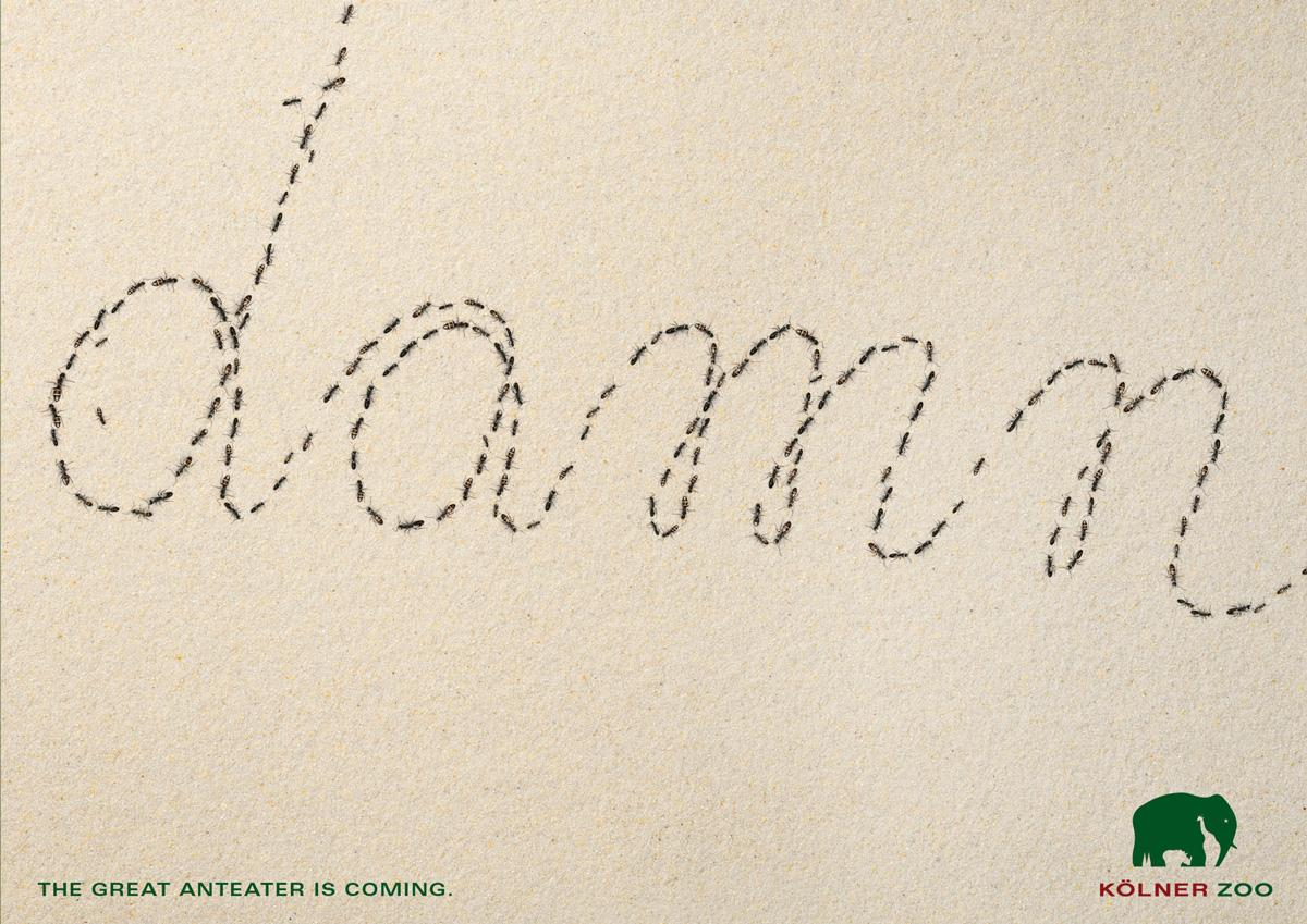 Zoo Cologne Print Ad -  The Anti-Anteater Font, Damn