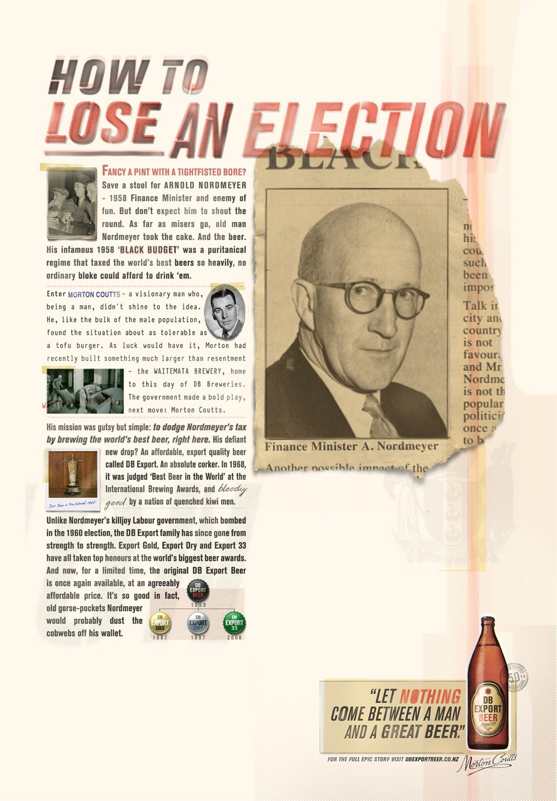 DB Export Beer Print Ad -  Election