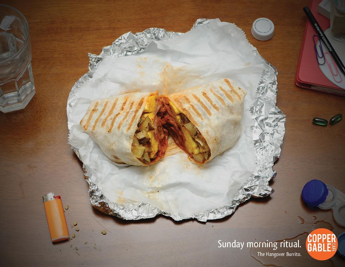 Copper Gable Cafe Print Ad -  Hangover Burrito, Desk