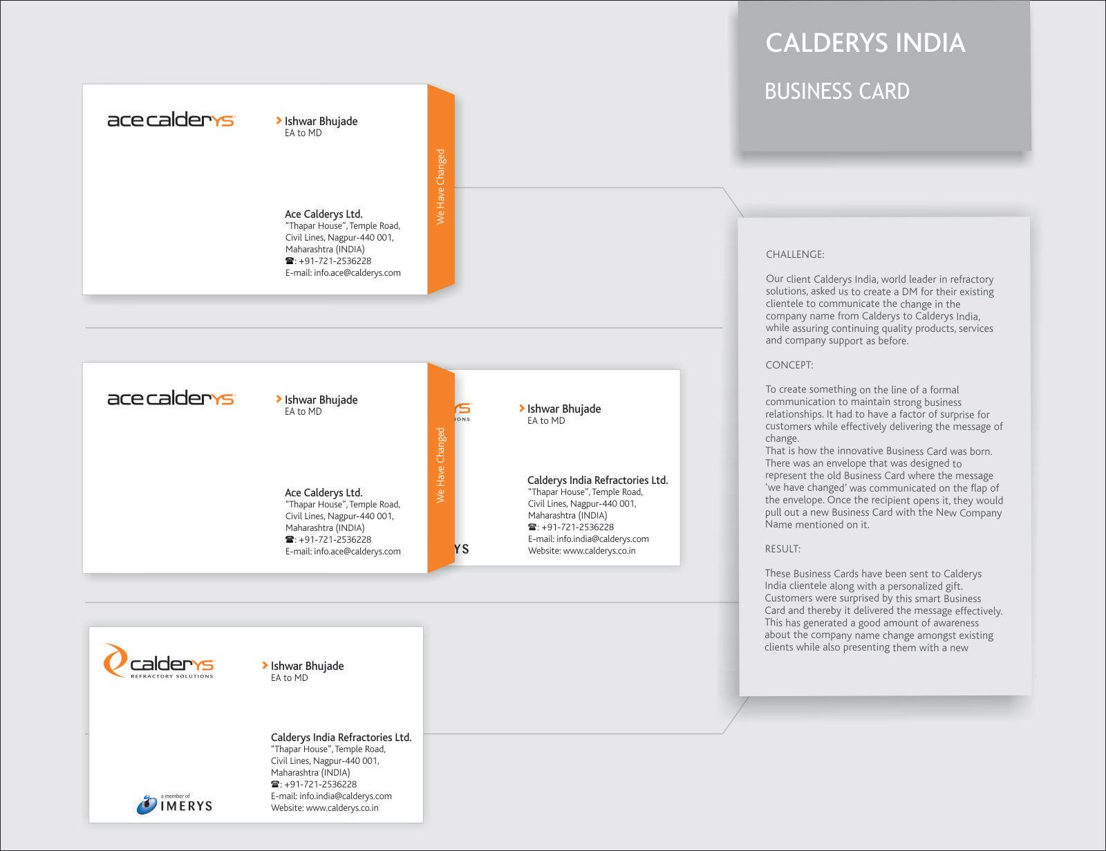 Calderys Direct Ad -  Business Card