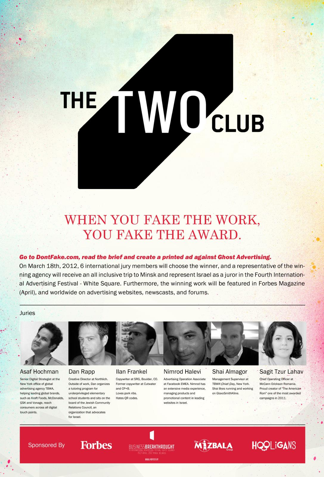 White Square Print Ad -  DontFake.com, The Two Club