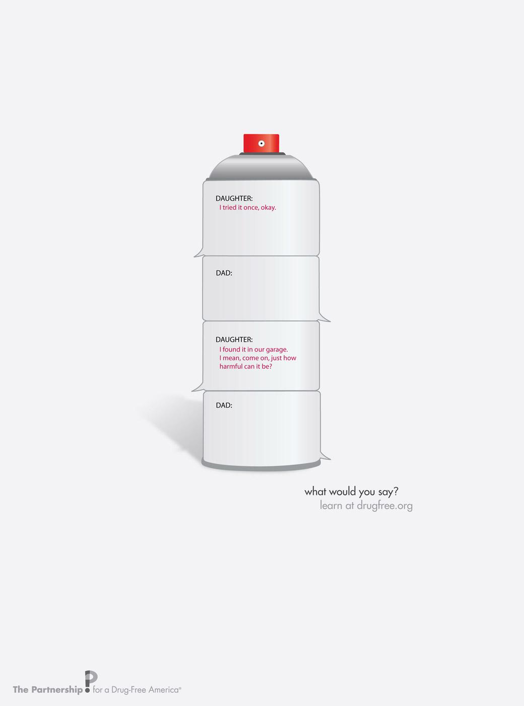 Partnership for a Drug-Free America Print Ad -  Spray can