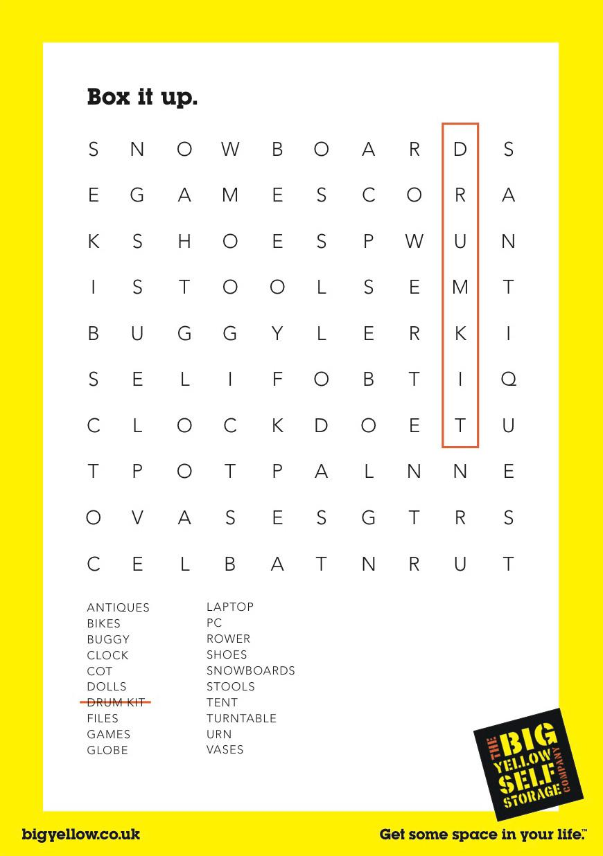 Big Yellow Storage Print Ad -  Drum Kit