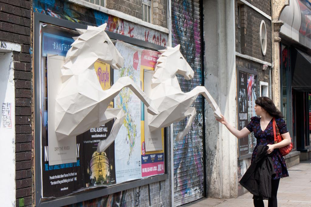 Sony Outdoor Ad -  3D paper-crafted horses