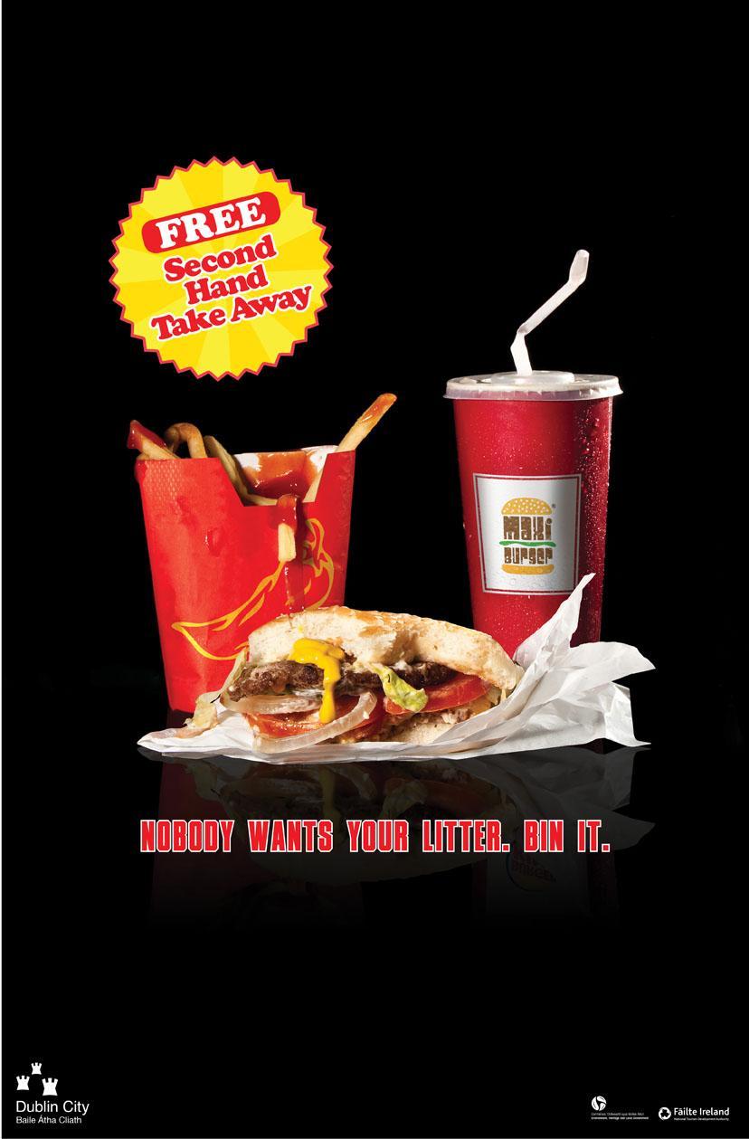 Dublin City Council Print Ad -  Second Hand Trash, Food