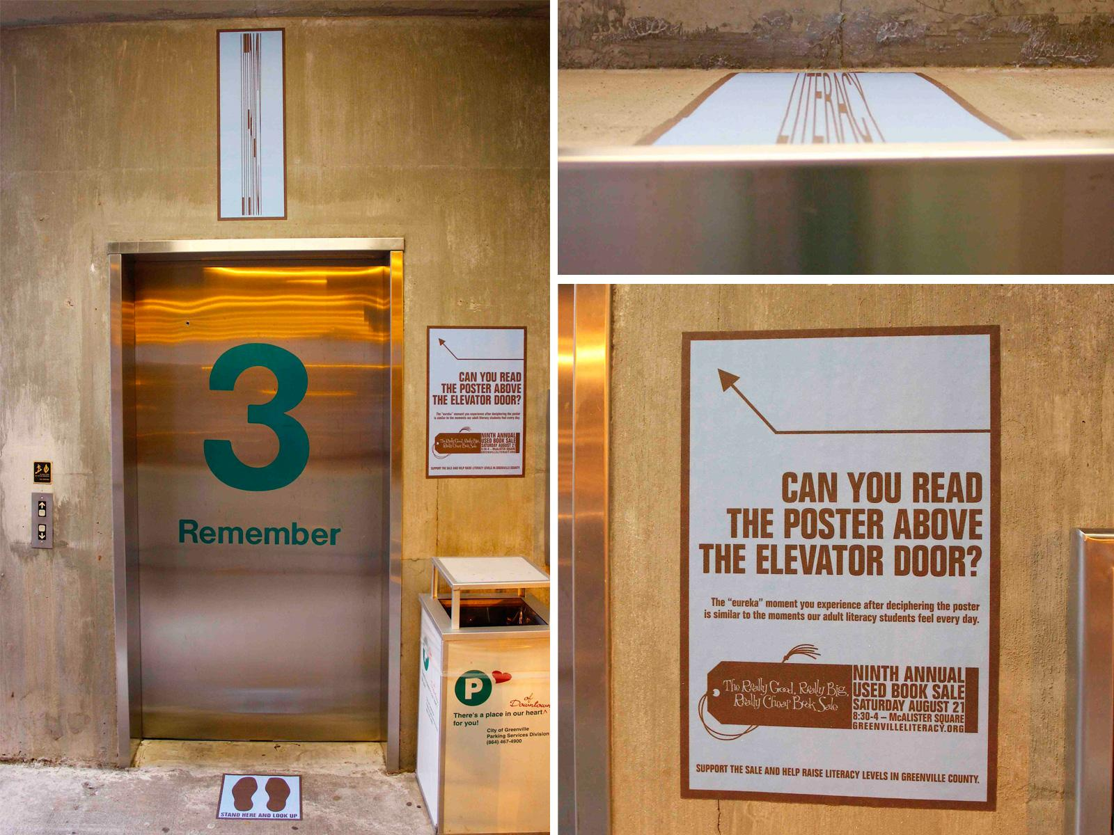 Greenville Literacy Association Ambient Ad -  Literacy Illusions, Elevator