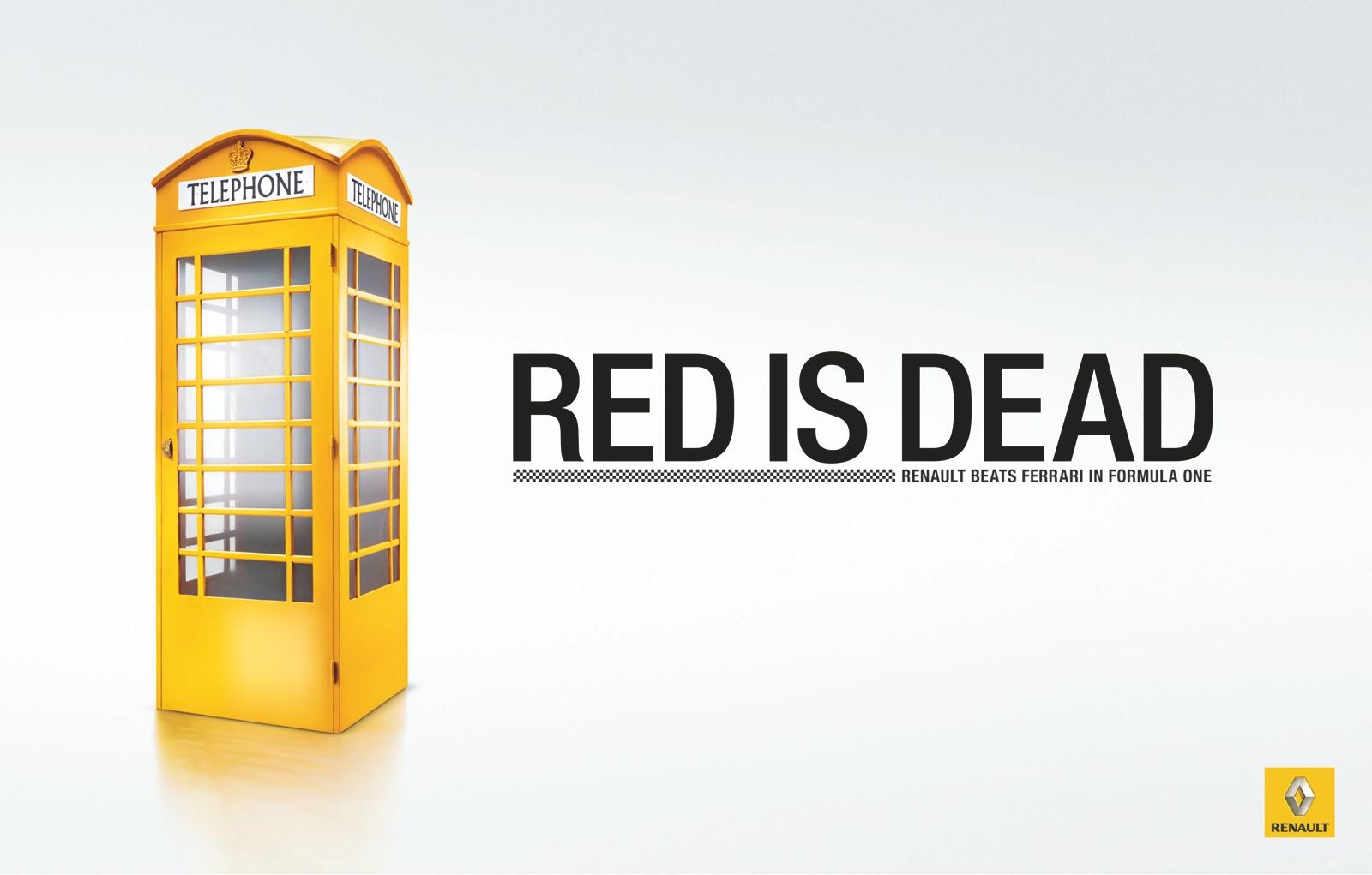 Renault Print Ad -  Red is Dead, English Phone Box