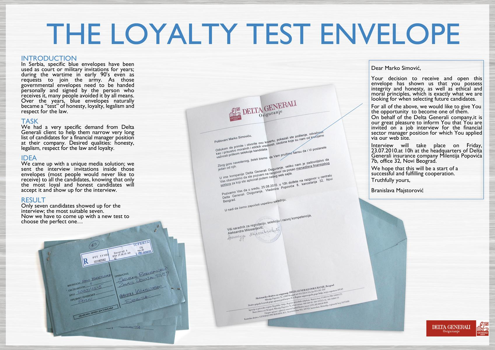 Delta Generali Direct Ad -  Loyalty test envelope