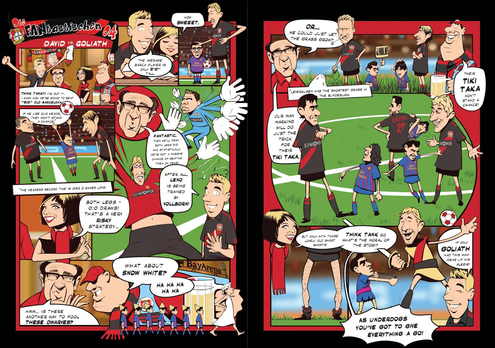Bayer Leverkusen Print Ad -  FC Barcelona - David vs. Goliath