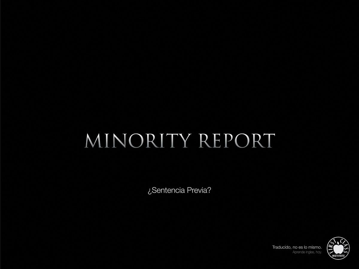 First Class Institute Print Ad -  Minority Report