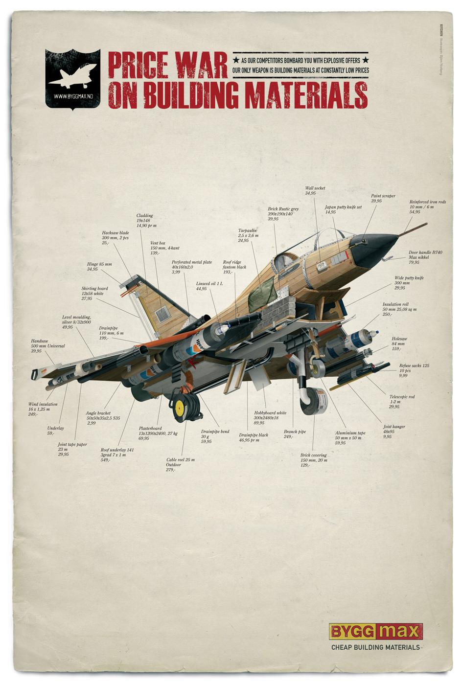 Byggmax Print Ad -  Price war, Fighter plane