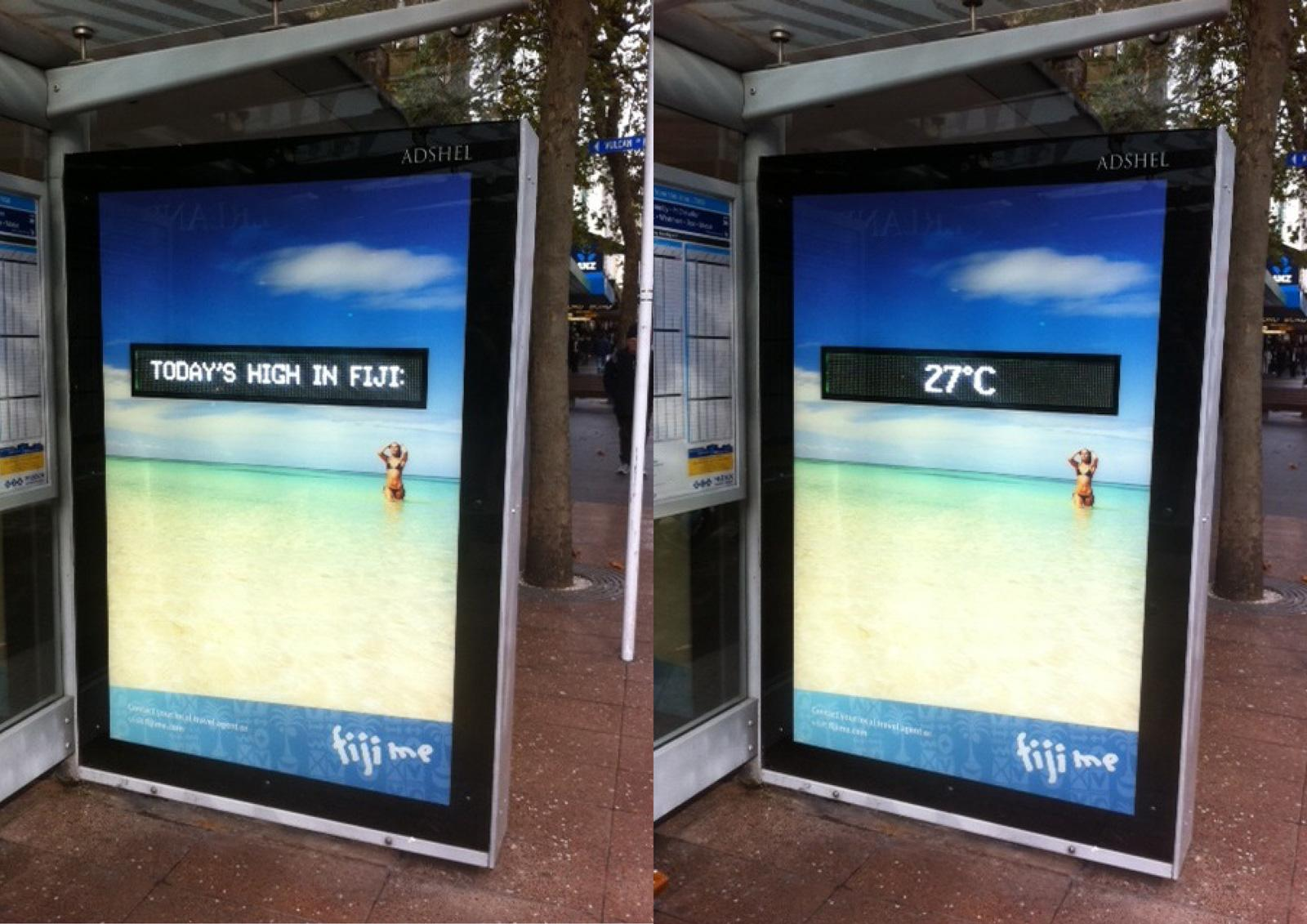 Tourism Fiji Outdoor Ad -  Fiji Temperature Adshel