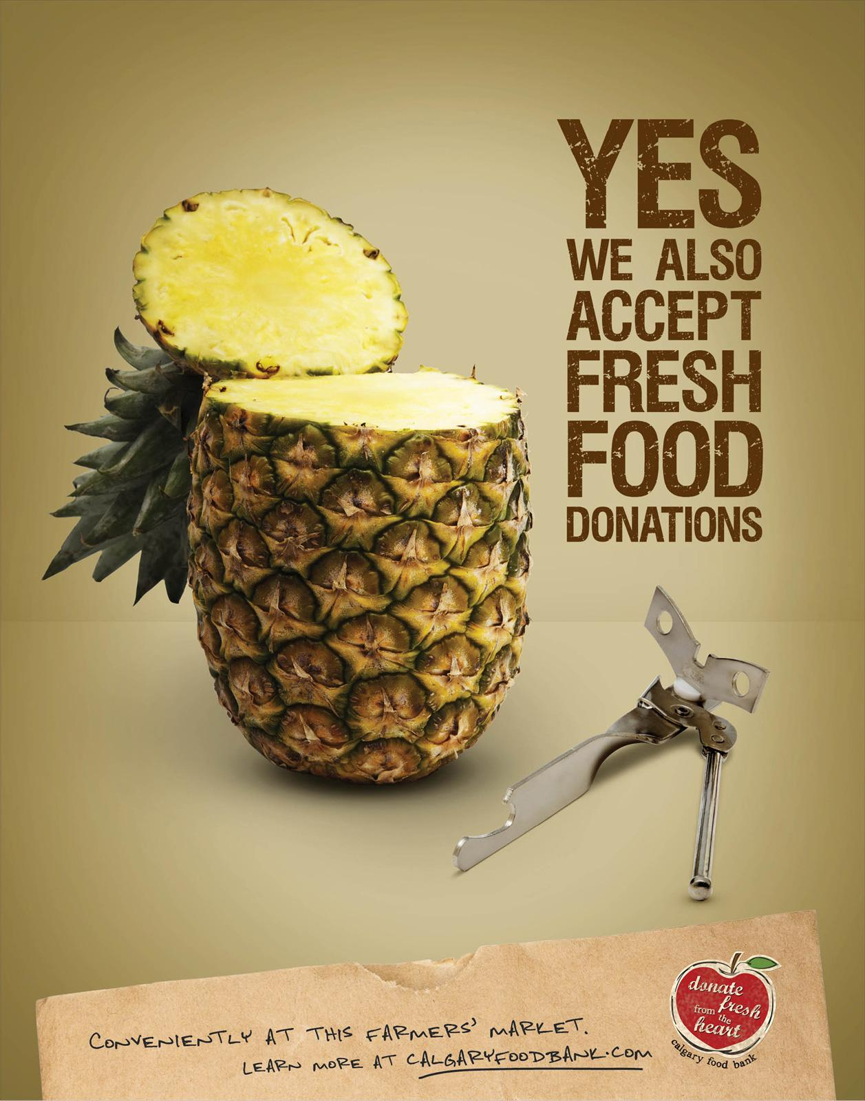 Calgary Food Bank Print Ad -  Pineapple