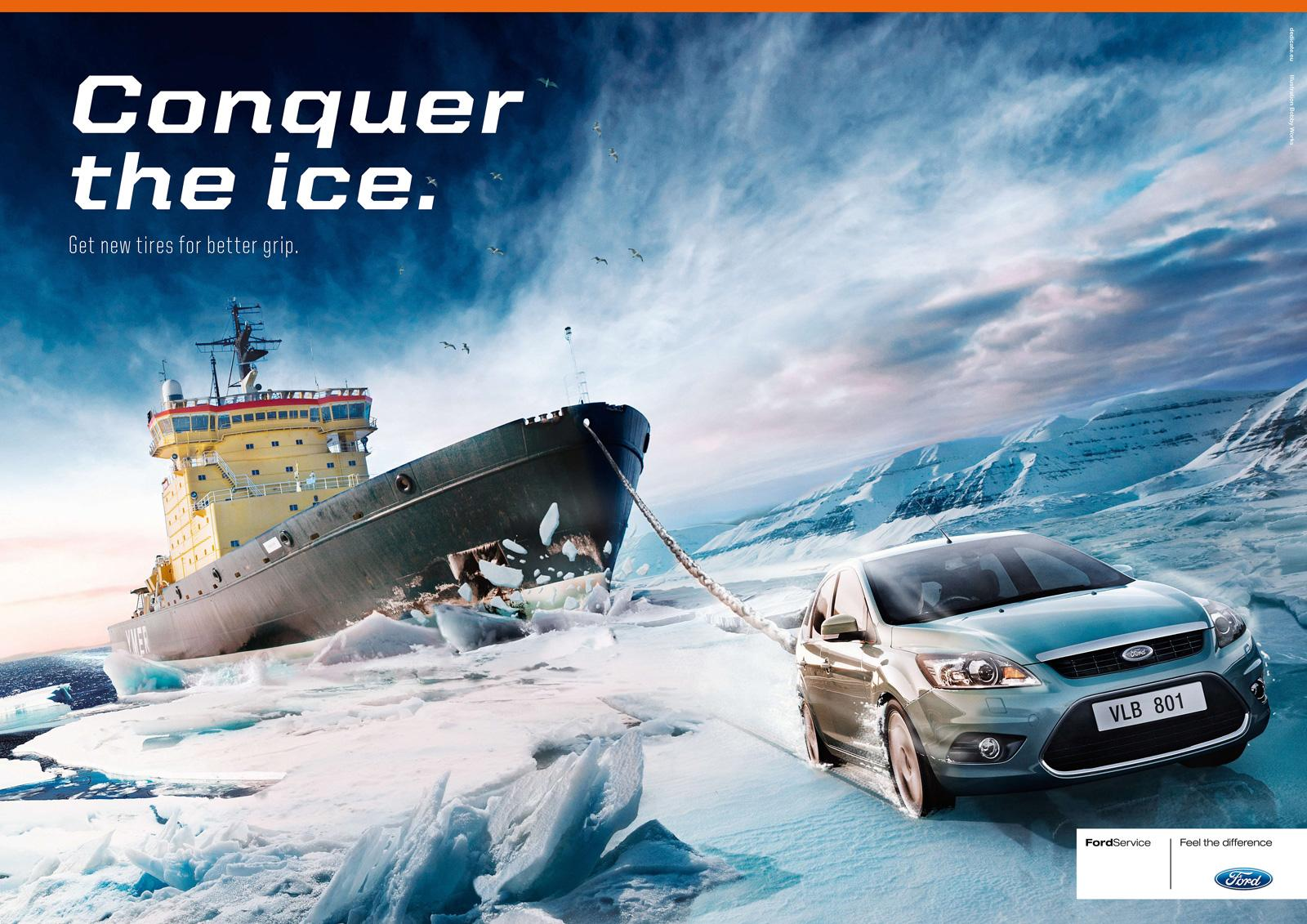 Ford Print Ad -  Conquer the ice