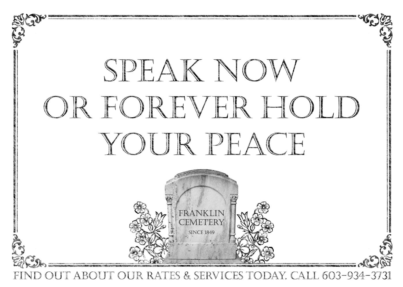 Franklin Cemetery Print Ad -  Speak